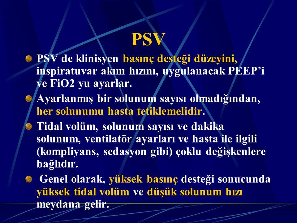PSV PSV de klinisyen basınç desteği düzeyini, inspiratuvar akım hızını, uygulanacak PEEP'i ve FiO2 yu ayarlar.