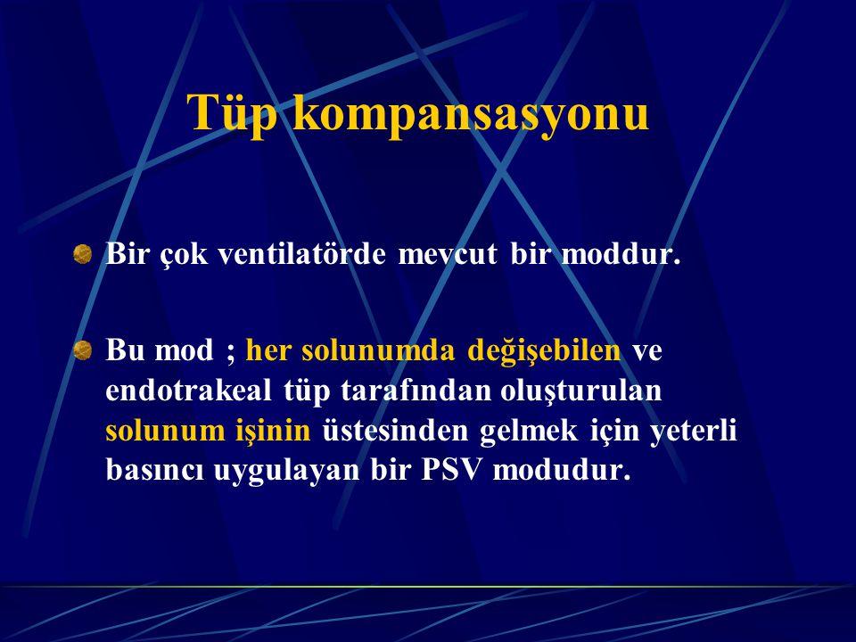 Tüp kompansasyonu Bir çok ventilatörde mevcut bir moddur.