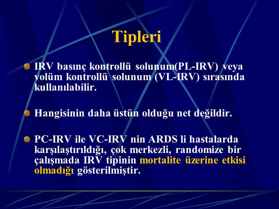Tipleri IRV basınç kontrollü solunum(PL-IRV) veya volüm kontrollü solunum (VL-IRV) sırasında kullanılabilir.