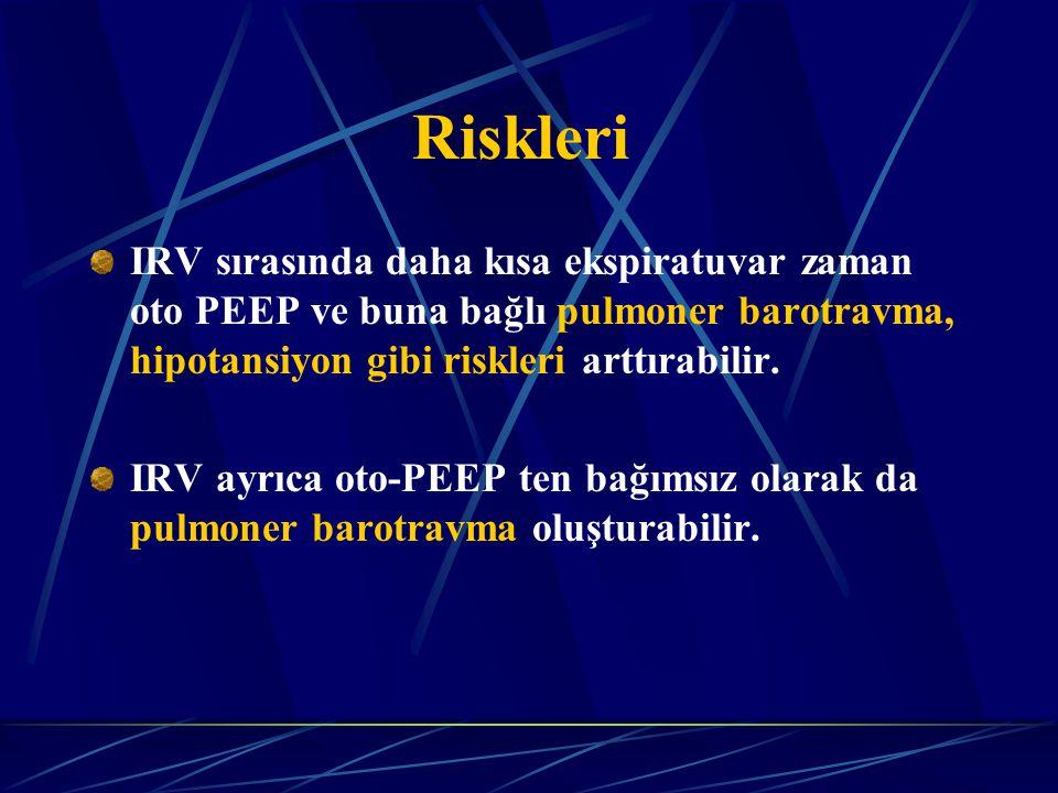 Riskleri IRV sırasında daha kısa ekspiratuvar zaman oto PEEP ve buna bağlı pulmoner barotravma, hipotansiyon gibi riskleri arttırabilir.