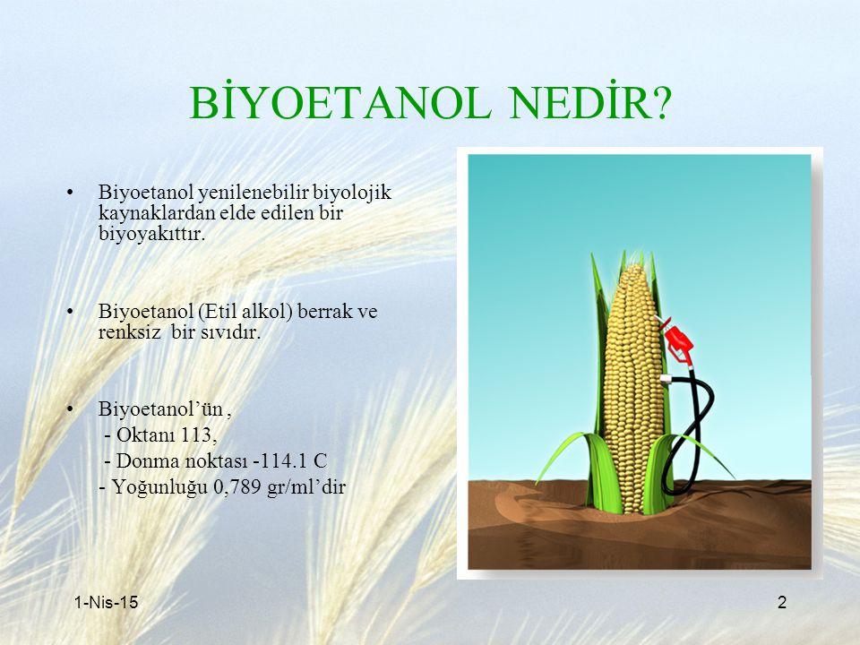 BİYOETANOL NEDİR Biyoetanol yenilenebilir biyolojik kaynaklardan elde edilen bir biyoyakıttır.