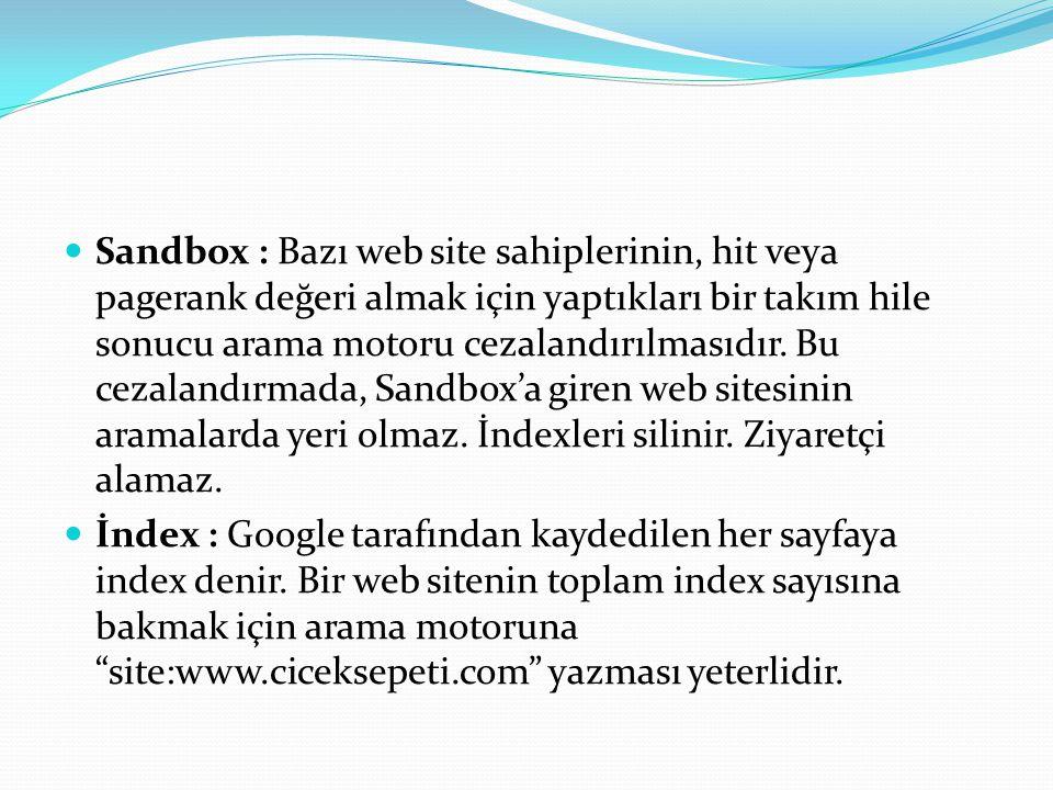 Sandbox : Bazı web site sahiplerinin, hit veya pagerank değeri almak için yaptıkları bir takım hile sonucu arama motoru cezalandırılmasıdır. Bu cezalandırmada, Sandbox'a giren web sitesinin aramalarda yeri olmaz. İndexleri silinir. Ziyaretçi alamaz.