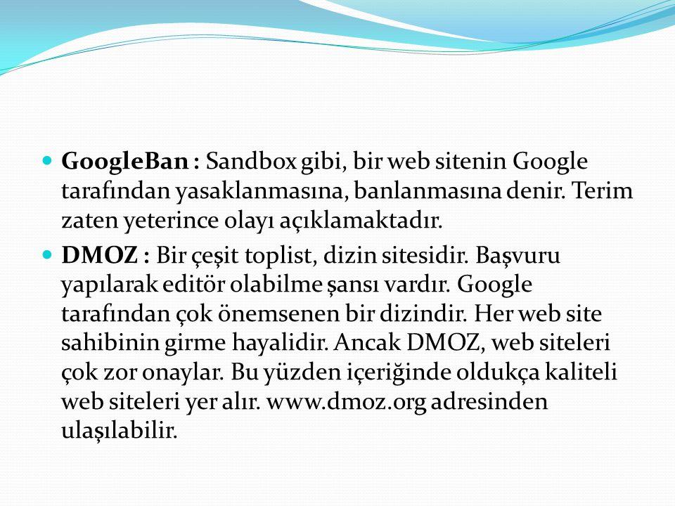 GoogleBan : Sandbox gibi, bir web sitenin Google tarafından yasaklanmasına, banlanmasına denir. Terim zaten yeterince olayı açıklamaktadır.