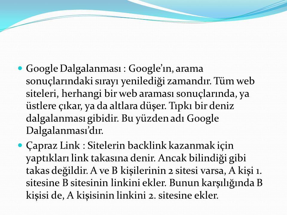 Google Dalgalanması : Google'ın, arama sonuçlarındaki sırayı yenilediği zamandır. Tüm web siteleri, herhangi bir web araması sonuçlarında, ya üstlere çıkar, ya da altlara düşer. Tıpkı bir deniz dalgalanması gibidir. Bu yüzden adı Google Dalgalanması'dır.