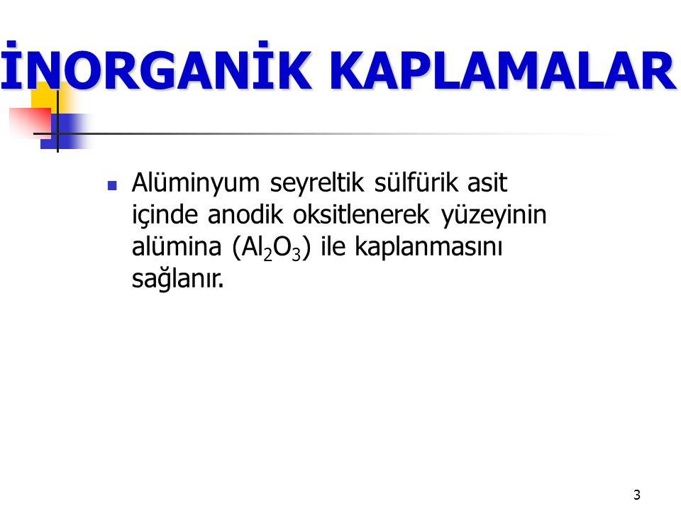 İNORGANİK KAPLAMALAR Alüminyum seyreltik sülfürik asit içinde anodik oksitlenerek yüzeyinin alümina (Al2O3) ile kaplanmasını sağlanır.