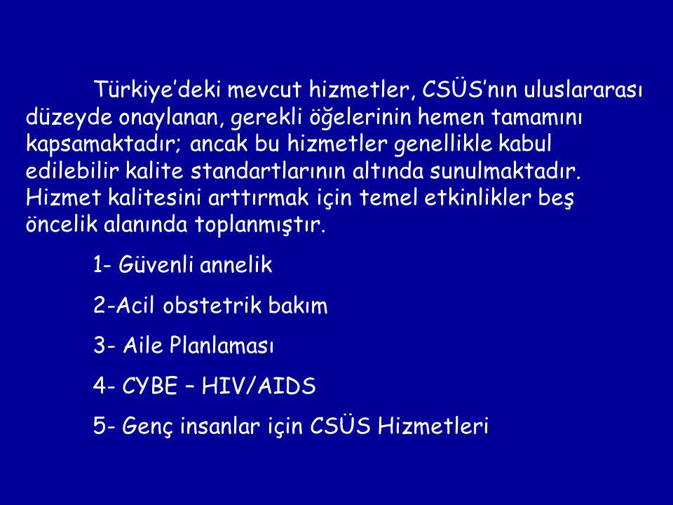 Türkiye'deki mevcut hizmetler, CSÜS'nın uluslararası düzeyde onaylanan, gerekli öğelerinin hemen tamamını kapsamaktadır; ancak bu hizmetler genellikle kabul edilebilir kalite standartlarının altında sunulmaktadır. Hizmet kalitesini arttırmak için temel etkinlikler beş öncelik alanında toplanmıştır.