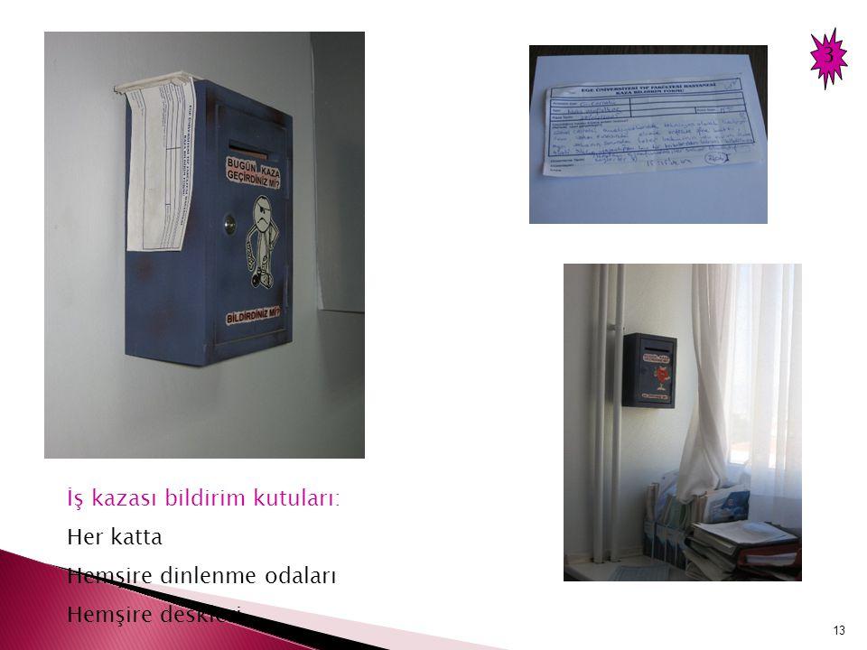 3 İş kazası bildirim kutuları: Her katta Hemşire dinlenme odaları Hemşire deskleri