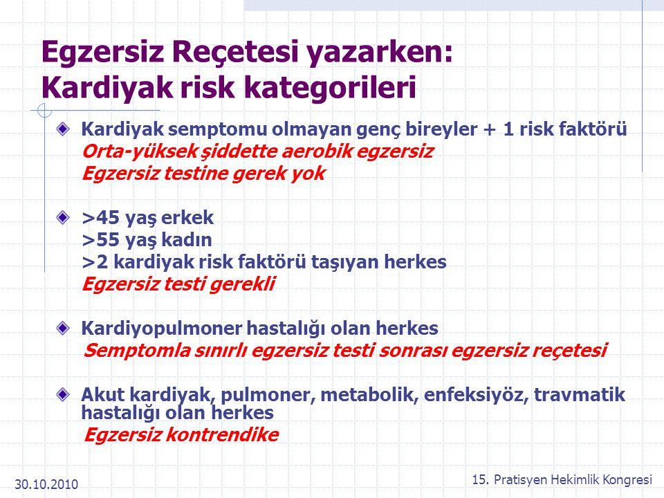 Egzersiz Reçetesi yazarken: Kardiyak risk kategorileri