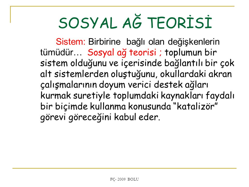 SOSYAL AĞ TEORİSİ