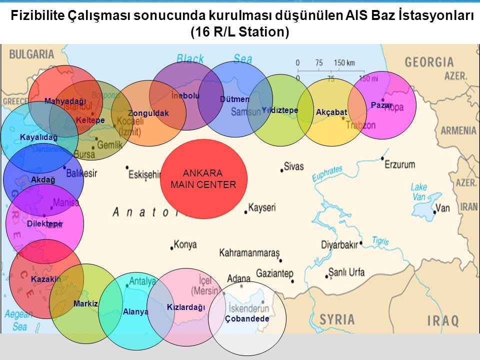 Fizibilite Çalışması sonucunda kurulması düşünülen AIS Baz İstasyonları (16 R/L Station)