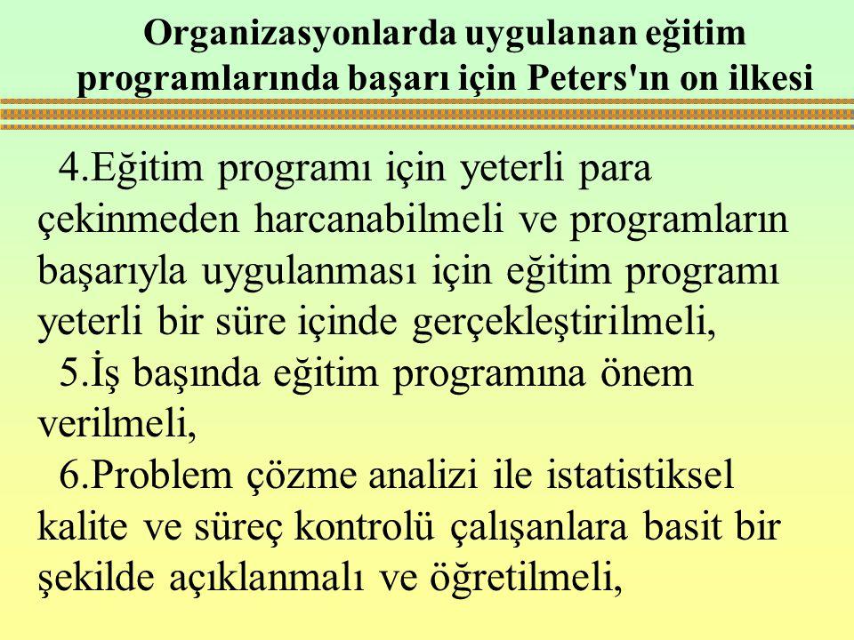 5.İş başında eğitim programına önem verilmeli,