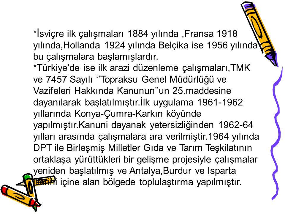 *İsviçre ilk çalışmaları 1884 yılında ,Fransa 1918 yılında,Hollanda 1924 yılında Belçika ise 1956 yılında bu çalışmalara başlamışlardır.