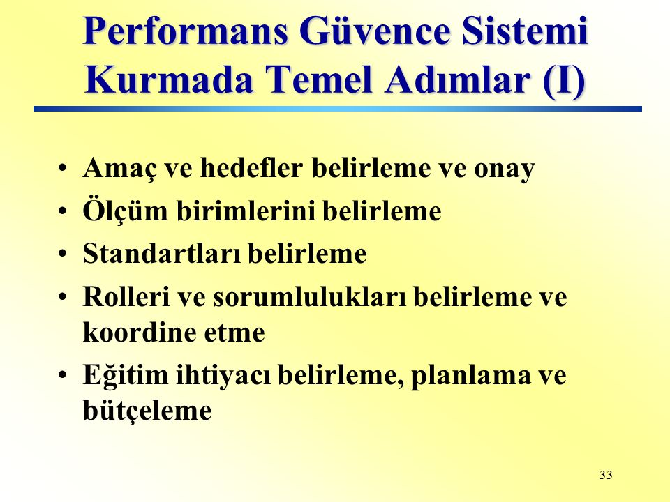 Performans Güvence Sistemi Kurmada Temel Adımlar (I)
