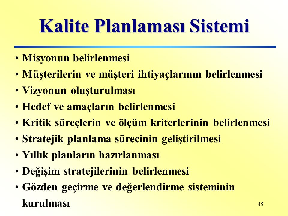 Kalite Planlaması Sistemi