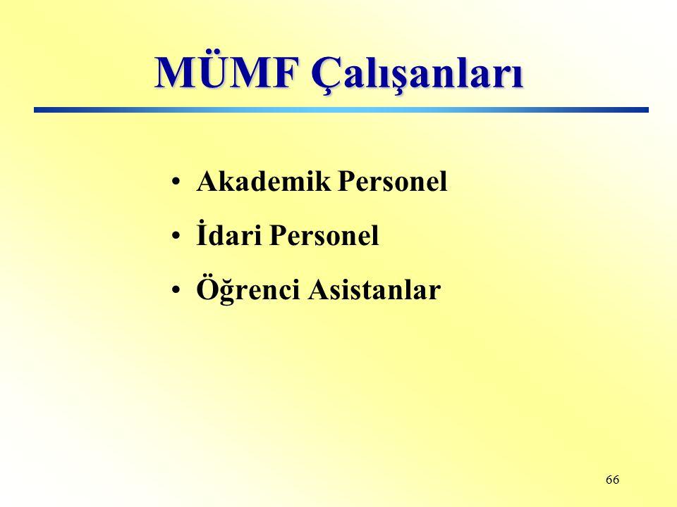 MÜMF Çalışanları Akademik Personel İdari Personel Öğrenci Asistanlar
