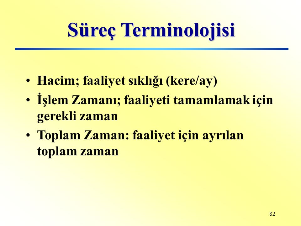 Süreç Terminolojisi Hacim; faaliyet sıklığı (kere/ay)