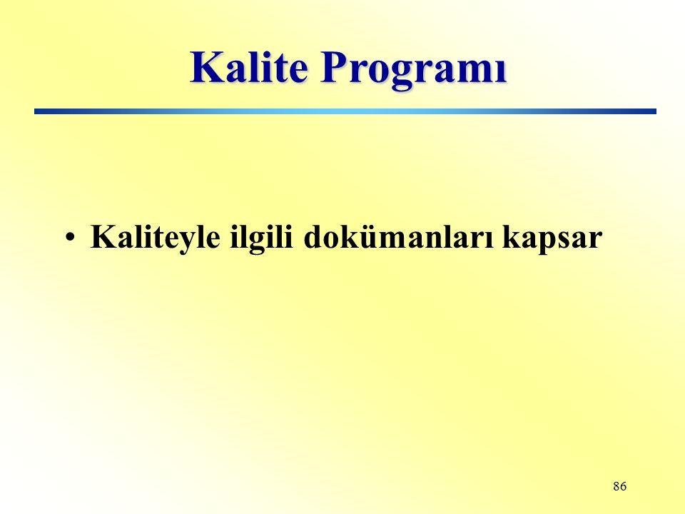 Kalite Programı Kaliteyle ilgili dokümanları kapsar