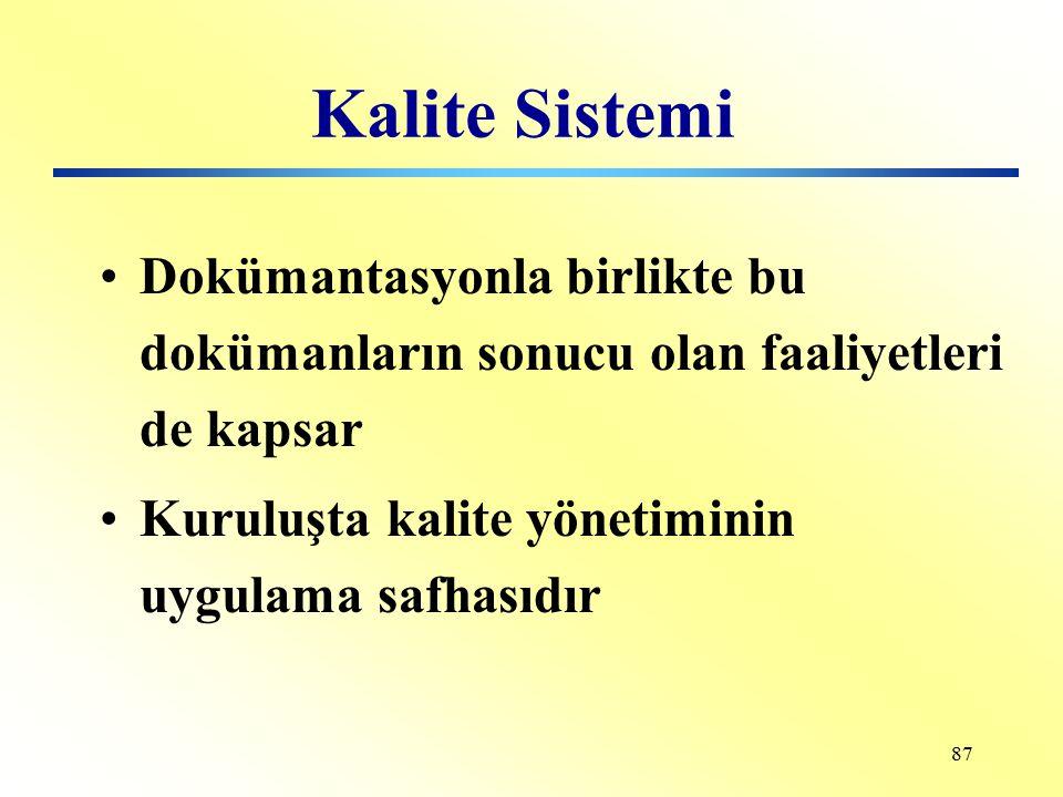 Kalite Sistemi Dokümantasyonla birlikte bu dokümanların sonucu olan faaliyetleri de kapsar.