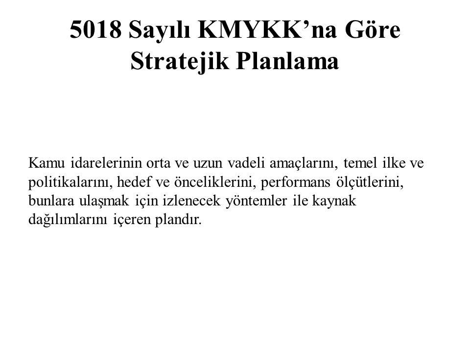 5018 Sayılı KMYKK'na Göre Stratejik Planlama