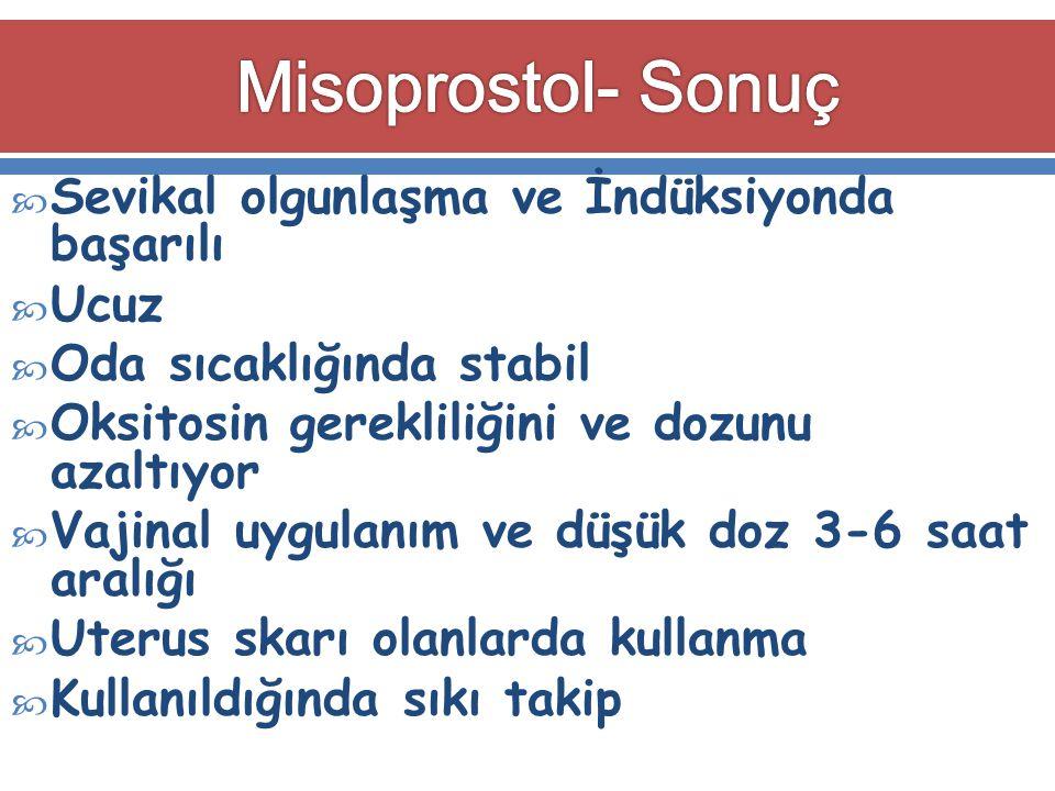 Misoprostol- Sonuç Sevikal olgunlaşma ve İndüksiyonda başarılı Ucuz