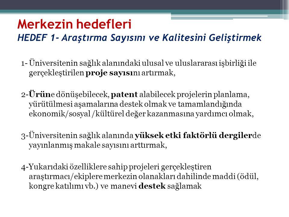 Merkezin hedefleri HEDEF 1- Araştırma Sayısını ve Kalitesini Geliştirmek