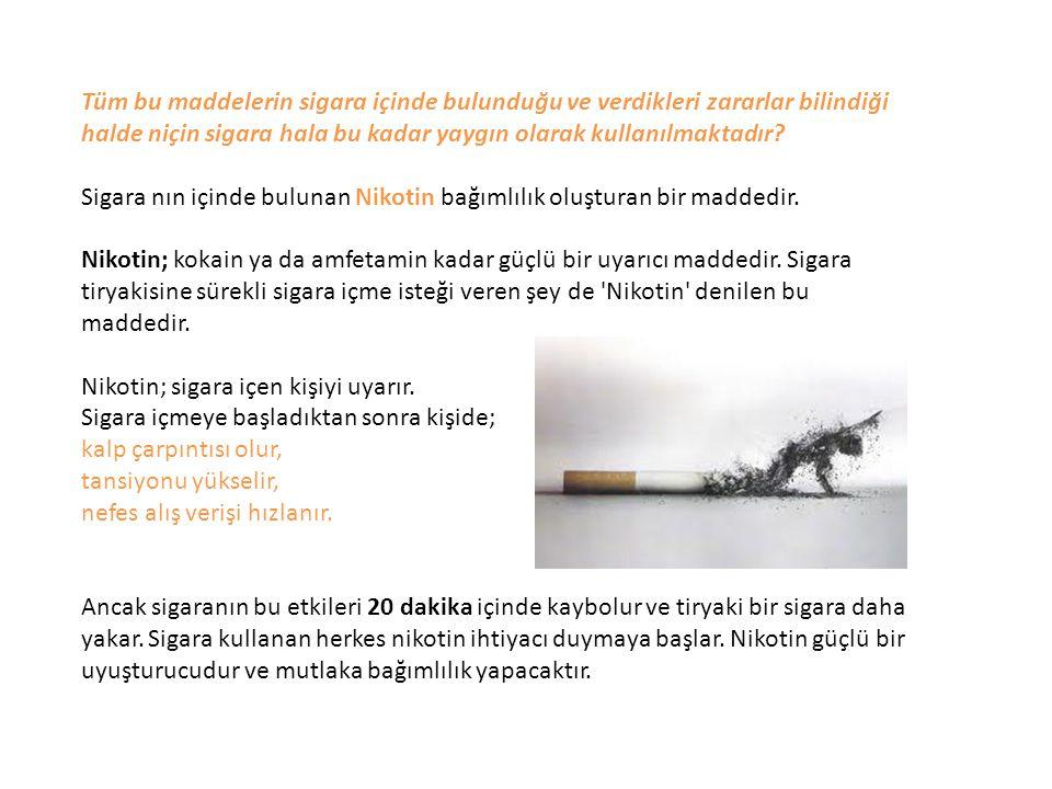 Tüm bu maddelerin sigara içinde bulunduğu ve verdikleri zararlar bilindiği halde niçin sigara hala bu kadar yaygın olarak kullanılmaktadır
