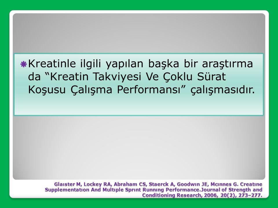 Kreatinle ilgili yapılan başka bir araştırma da Kreatin Takviyesi Ve Çoklu Sürat Koşusu Çalışma Performansı çalışmasıdır.