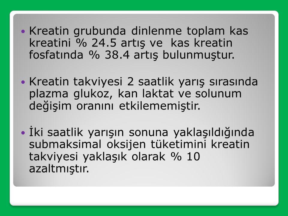 Kreatin grubunda dinlenme toplam kas kreatini % 24