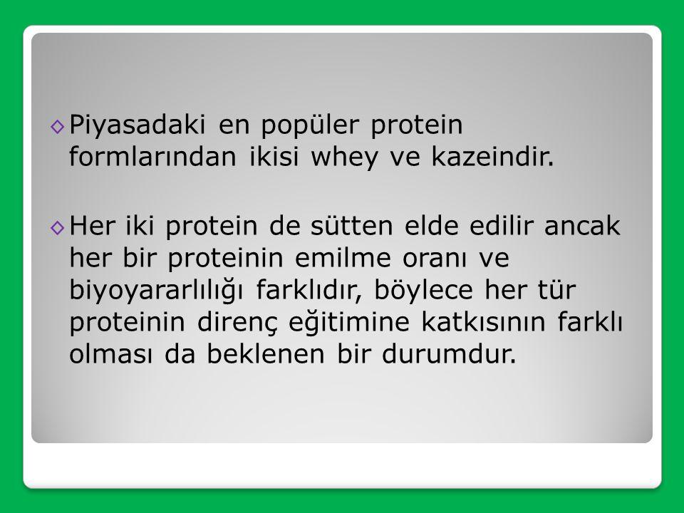 Piyasadaki en popüler protein formlarından ikisi whey ve kazeindir.