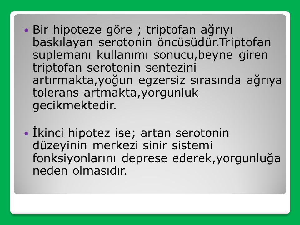 Bir hipoteze göre ; triptofan ağrıyı baskılayan serotonin öncüsüdür