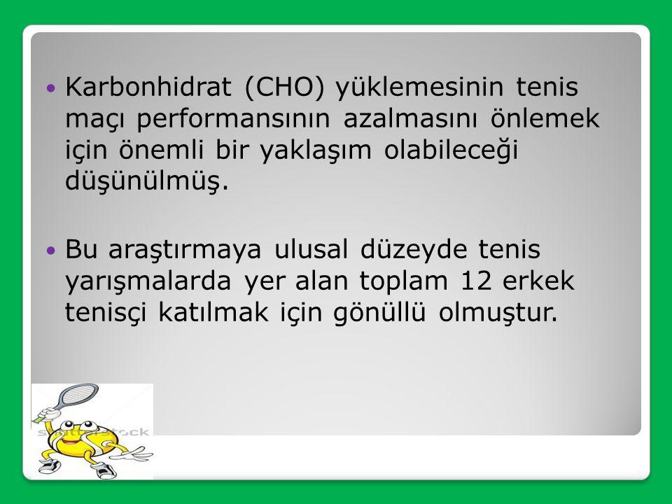 Karbonhidrat (CHO) yüklemesinin tenis maçı performansının azalmasını önlemek için önemli bir yaklaşım olabileceği düşünülmüş.