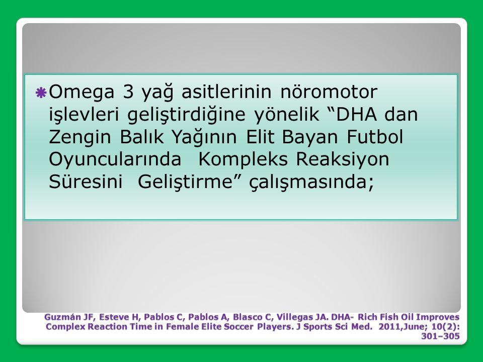 Omega 3 yağ asitlerinin nöromotor işlevleri geliştirdiğine yönelik DHA dan Zengin Balık Yağının Elit Bayan Futbol Oyuncularında Kompleks Reaksiyon Süresini Geliştirme çalışmasında;