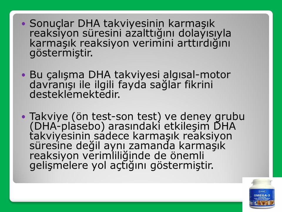 Sonuçlar DHA takviyesinin karmaşık reaksiyon süresini azalttığını dolayısıyla karmaşık reaksiyon verimini arttırdığını göstermiştir.