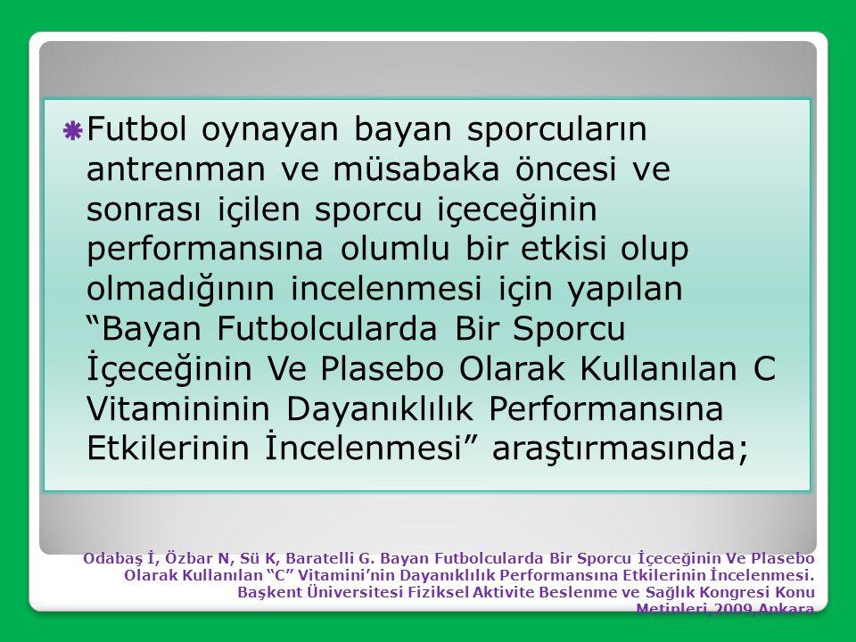 Futbol oynayan bayan sporcuların antrenman ve müsabaka öncesi ve sonrası içilen sporcu içeceğinin performansına olumlu bir etkisi olup olmadığının incelenmesi için yapılan Bayan Futbolcularda Bir Sporcu İçeceğinin Ve Plasebo Olarak Kullanılan C Vitamininin Dayanıklılık Performansına Etkilerinin İncelenmesi araştırmasında;