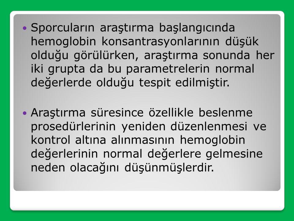 Sporcuların araştırma başlangıcında hemoglobin konsantrasyonlarının düşük olduğu görülürken, araştırma sonunda her iki grupta da bu parametrelerin normal değerlerde olduğu tespit edilmiştir.