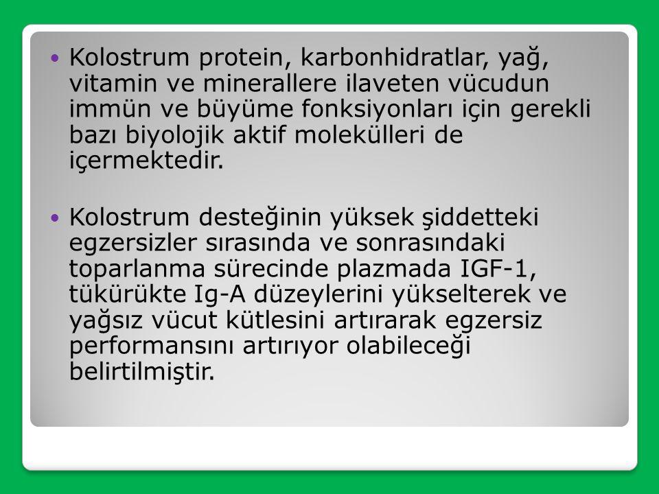 Kolostrum protein, karbonhidratlar, yağ, vitamin ve minerallere ilaveten vücudun immün ve büyüme fonksiyonları için gerekli bazı biyolojik aktif molekülleri de içermektedir.