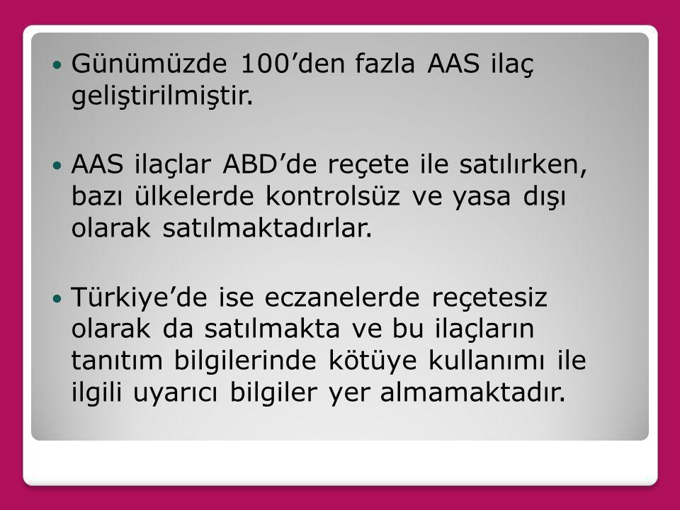 Günümüzde 100'den fazla AAS ilaç geliştirilmiştir.
