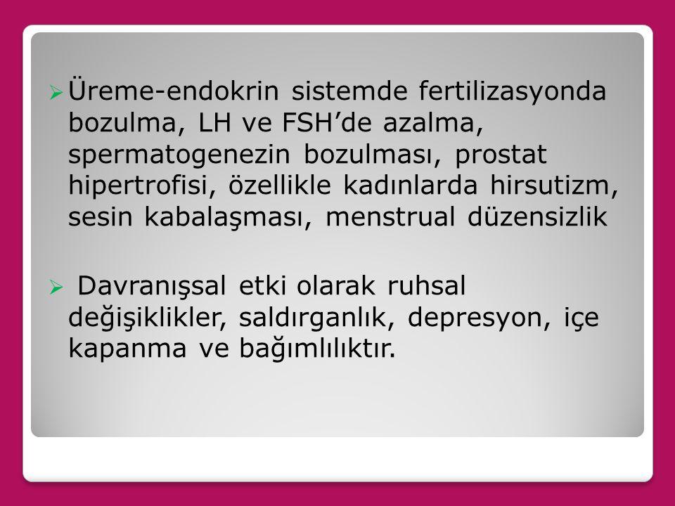 Üreme-endokrin sistemde fertilizasyonda bozulma, LH ve FSH'de azalma, spermatogenezin bozulması, prostat hipertrofisi, özellikle kadınlarda hirsutizm, sesin kabalaşması, menstrual düzensizlik