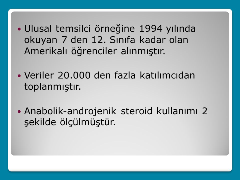 Ulusal temsilci örneğine 1994 yılında okuyan 7 den 12