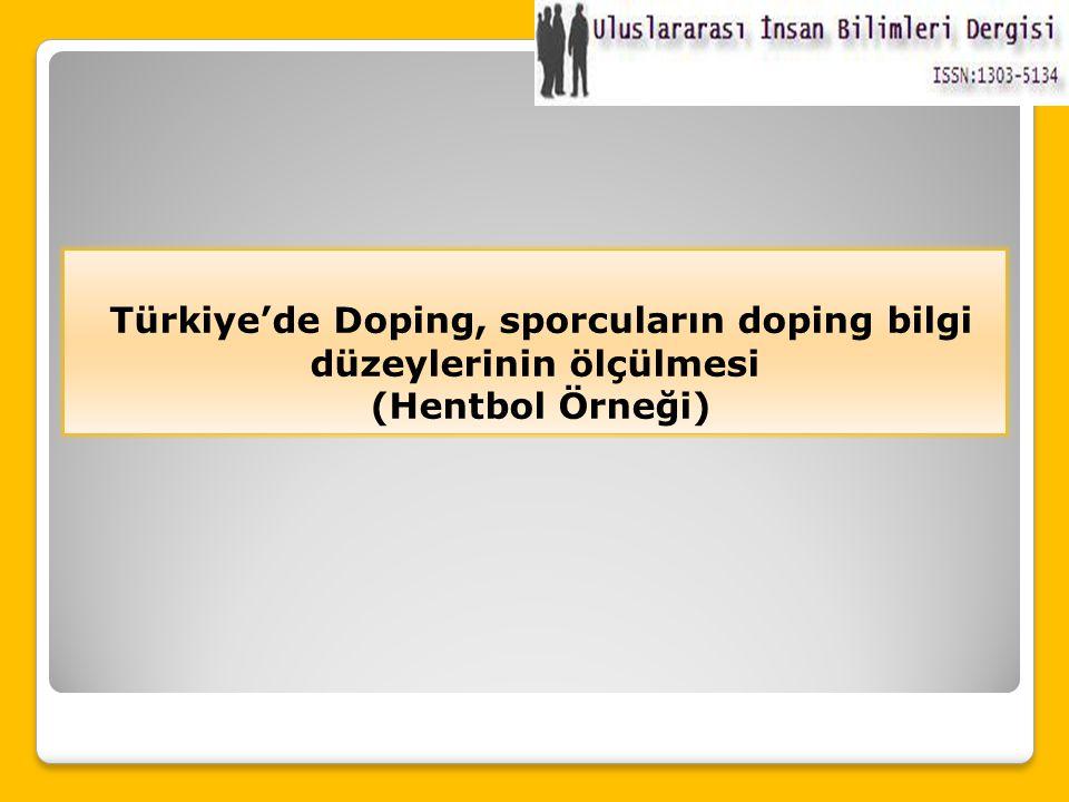 Türkiye'de Doping, sporcuların doping bilgi düzeylerinin ölçülmesi