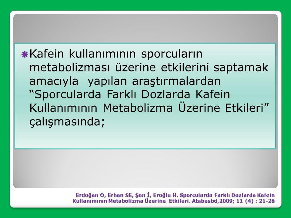 Kafein kullanımının sporcuların metabolizması üzerine etkilerini saptamak amacıyla yapılan araştırmalardan Sporcularda Farklı Dozlarda Kafein Kullanımının Metabolizma Üzerine Etkileri çalışmasında;