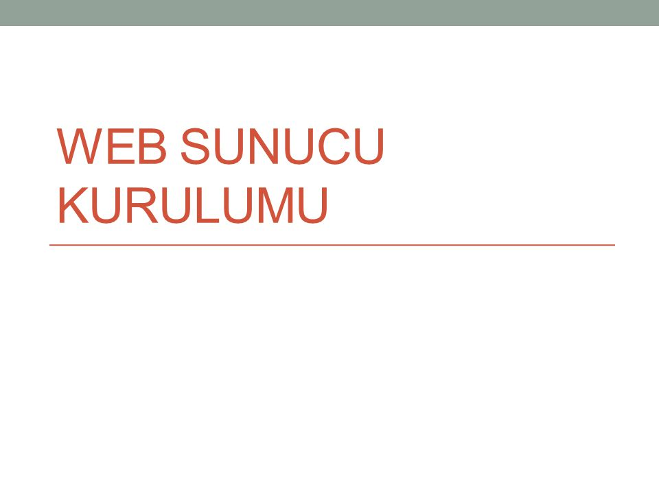 WEB SUNUCU KURULUMU