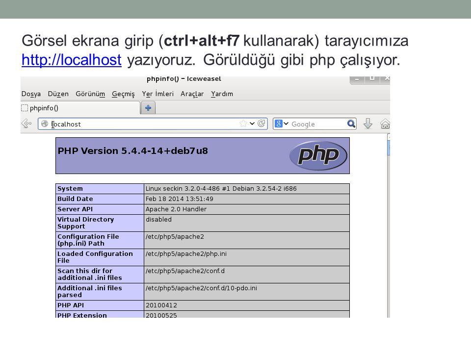 Görsel ekrana girip (ctrl+alt+f7 kullanarak) tarayıcımıza http://localhost yazıyoruz.