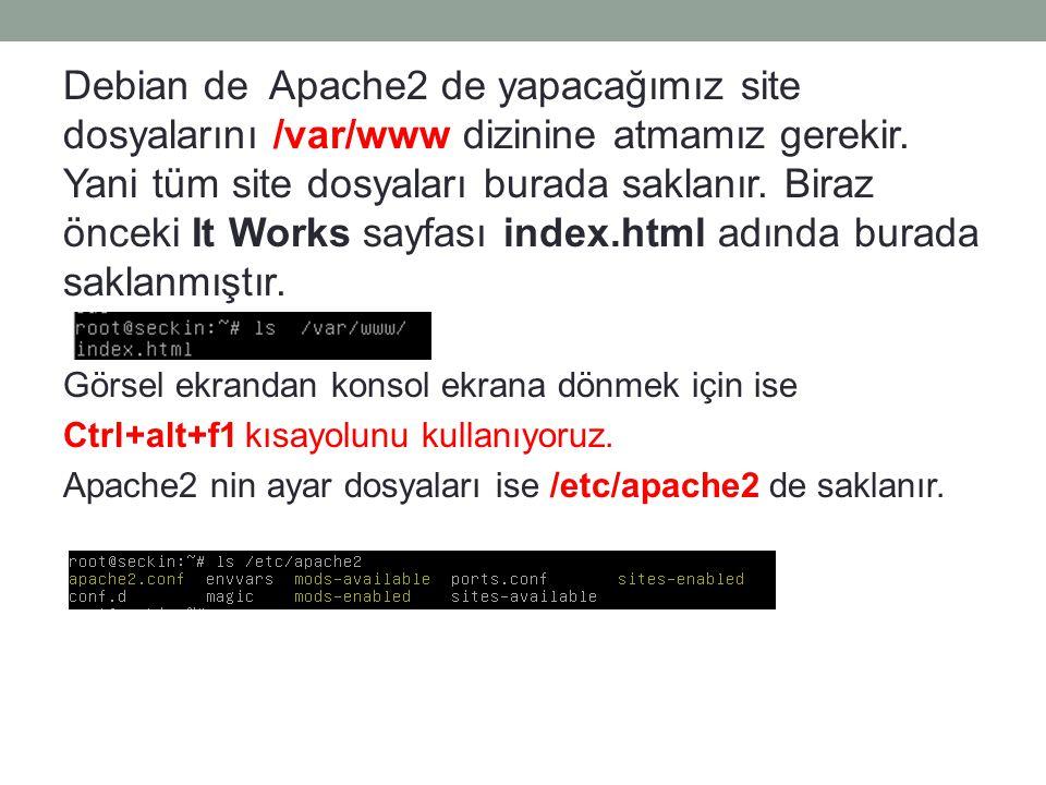 Debian de Apache2 de yapacağımız site dosyalarını /var/www dizinine atmamız gerekir. Yani tüm site dosyaları burada saklanır. Biraz önceki It Works sayfası index.html adında burada saklanmıştır.