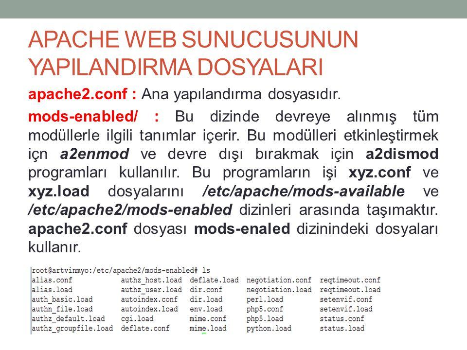 APACHE WEB SUNUCUSUNUN YAPILANDIRMA DOSYALARI