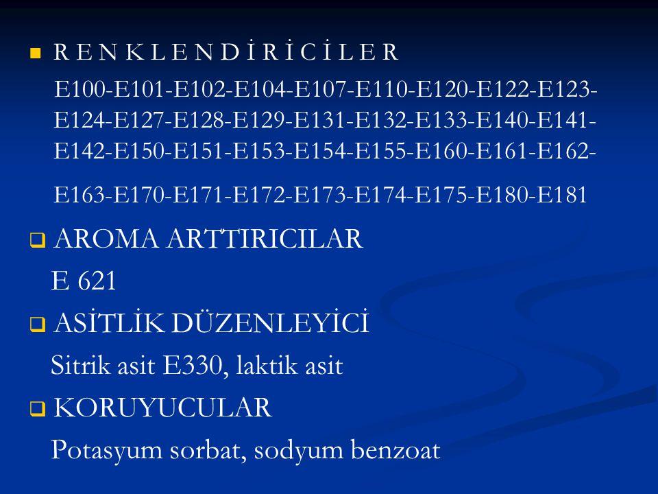 Sitrik asit E330, laktik asit KORUYUCULAR