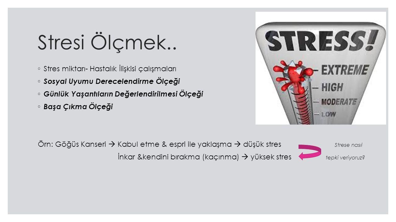 Stresi Ölçmek.. Stres miktarı- Hastalık İlişkisi çalışmaları