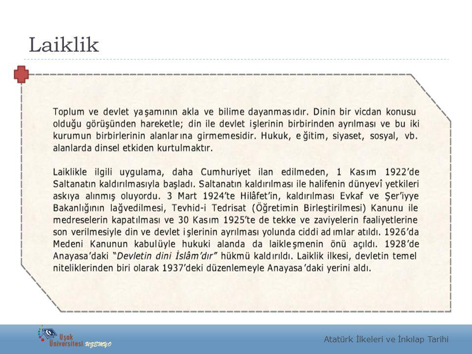 Laiklik Atatürk İlkeleri ve İnkılap Tarihi