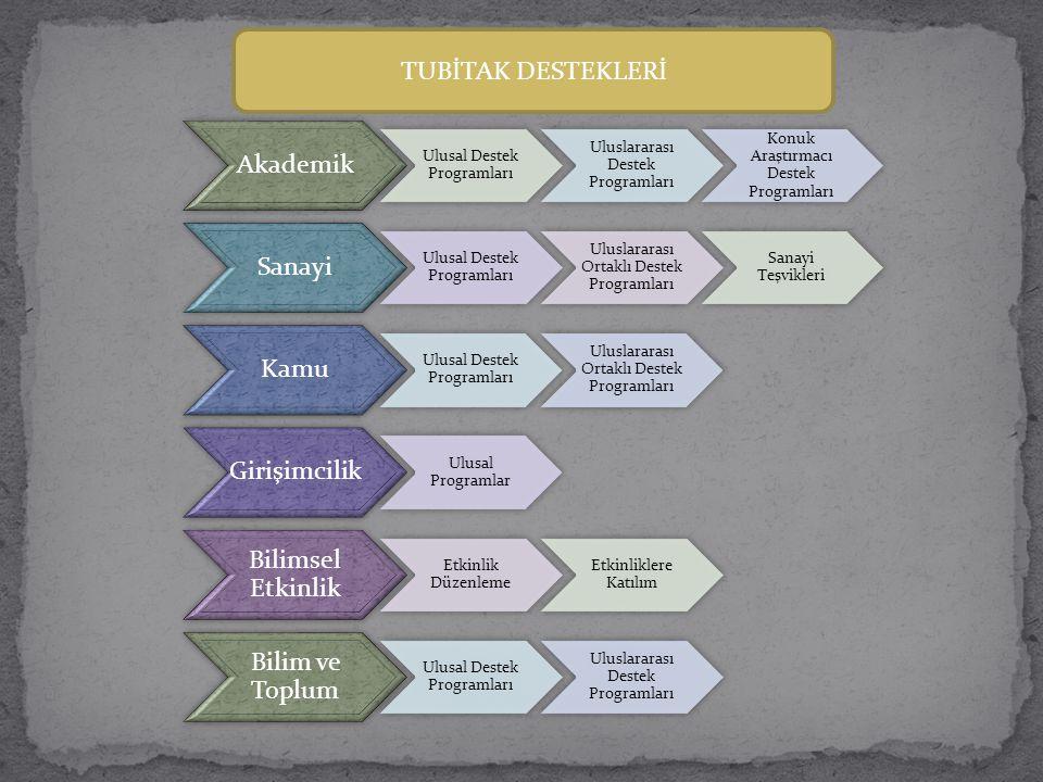 TUBİTAK DESTEKLERİ Akademik Ulusal Destek Programları