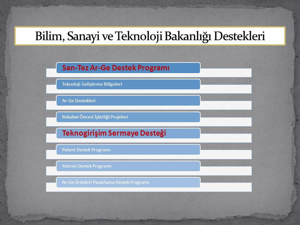 Bilim, Sanayi ve Teknoloji Bakanlığı Destekleri